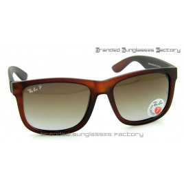 Ray Ban RB4165 Justin 54MM Polarized Sunglasses Matte Brown Frame Brown Gradient Lens