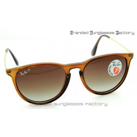 Ray Ban RB4171 Erika 55MM Polarized Sunglasses Transparent Brown Frame Brown Gradient Lens