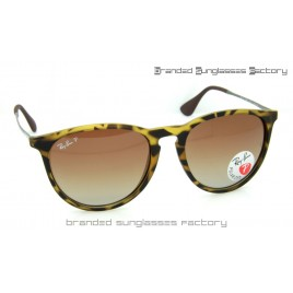 Ray Ban RB4171 Erika 865/13 55MM Polarized Sunglasses Matte Tortoise Frame Brown Gradient Lens