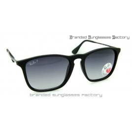 Ray Ban RB4187 Chris 622/8G 59MM Polarized Sunglasses Matte Black Frame Grey Gradient Lens