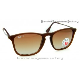 Ray Ban RB4187 Chris 868/13 59MM Polarized Sunglasses Brown Frame Brown Gradient Lens
