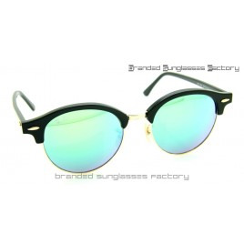 Ray Ban RB4246 Clubround Sunglasses Black Frame Green Flash Lens 51MM