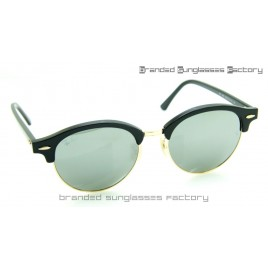 Ray Ban RB4246 Clubround Sunglasses Black Frame Silver Mirrored Lens 51MM