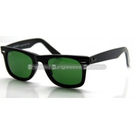 Ray Ban Wayfarer RB2140/901 50MM Sunglasses Black Frame Green Lens