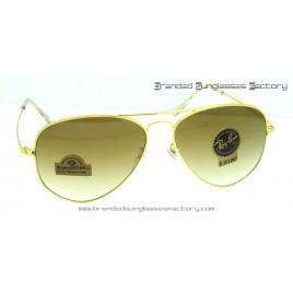 Ray Ban Titanium Aviator RB8029-K 62MM Sunglasses Gold Frame Brown Lens